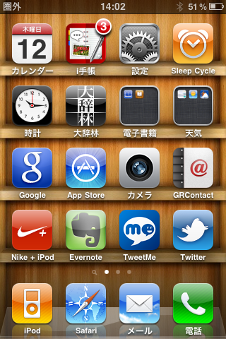 iPhoneのトップ画面